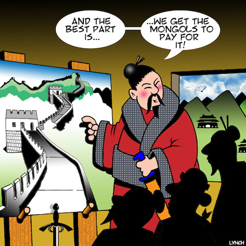 Cartoon: Great wall of China (medium) by toons tagged the,trump,wall,great,of,china,mongolia,mongols,invasion,building,donald,the,trump,wall,great,of,china,mongolia,mongols,invasion,building,donald