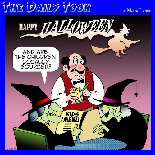 Cartoon: Halloween (medium) by toons tagged witches,halloween,locally,sourced,foods,kids,menu,sorcery,magic,horror,movie,healthy,eating,witches,halloween,locally,sourced,foods,kids,menu,sorcery,magic,horror,movie,healthy,eating