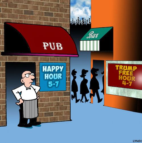 Cartoon: Happy hour (medium) by toons tagged donald,trump,happy,hour,us,president,pubs,donald,trump,happy,hour,us,president,pubs