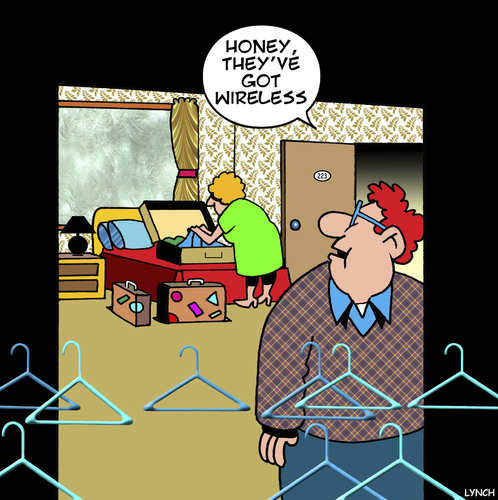 Cartoon: Hotel internet access (medium) by toons tagged wireless,technology,internet,access,hotel,accommodation,coat,hanger,charge,for,wireless,technology,internet,access,hotel,accommodation,coat,hanger,charge,for