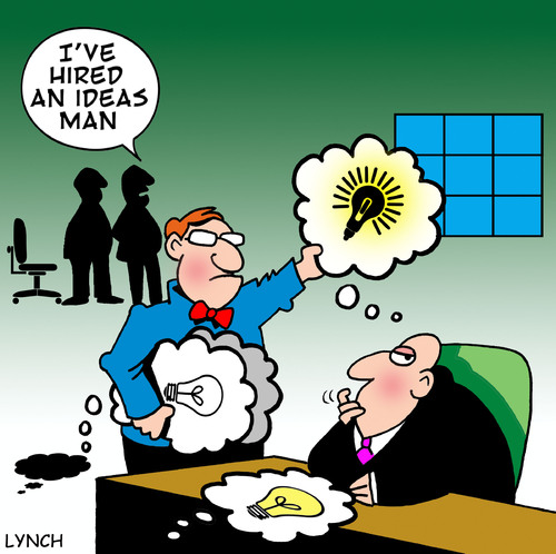 Cartoon: ideas man (medium) by toons tagged ideas,thought,bubbles,speech,innovations,corporate,office,consultant,hiring,firing,cartoons