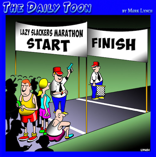 Cartoon: Lazy people (medium) by toons tagged marathon,running,lazy,slacker,fun,run,racing,sport,marathon,running,lazy,slacker,fun,run,racing,sport