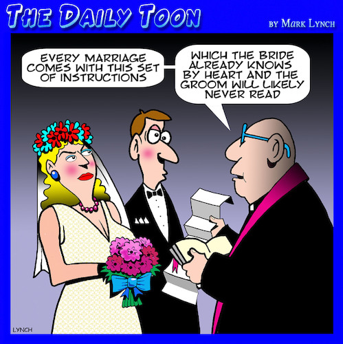 Cartoon: Marriage instructions (medium) by toons tagged men,reading,instruction,marriage,contract,manuals,men,reading,instruction,marriage,contract,manuals