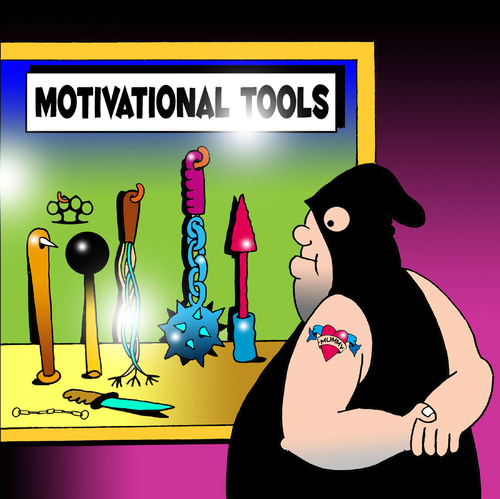 Cartoon: motivational tools (medium) by toons tagged motivational,tools,torture,dungeon,pain,whips,medievil,truth,serum