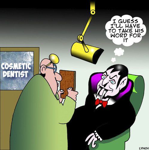Cartoon: On reflection (medium) by toons tagged dracula,dentistry,cosmetic,surgery,mirrors,dentist