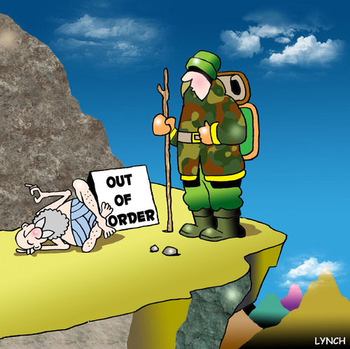 Cartoon: out of order (medium) by toons tagged guru,out,of,order,mountaineering,climbing,absailing,mountains,information,wise,man,tribal,elder