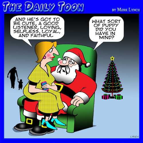 Cartoon: Perfect man (medium) by toons tagged santa,puppies,perfect,man,christmas,wish,list,santas,knee,santa,puppies,perfect,man,christmas,wish,list,santas,knee