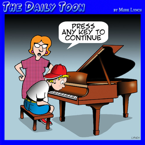 Cartoon: Piano lessons (medium) by toons tagged piano,teacher,lessons,computer,keyboard,press,any,key,sheet,music,piano,teacher,lessons,computer,keyboard,press,any,key,sheet,music