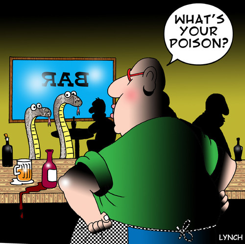 Cartoon: poison (medium) by toons tagged poison,snakes,reptiles,pubs,bars,alcohol