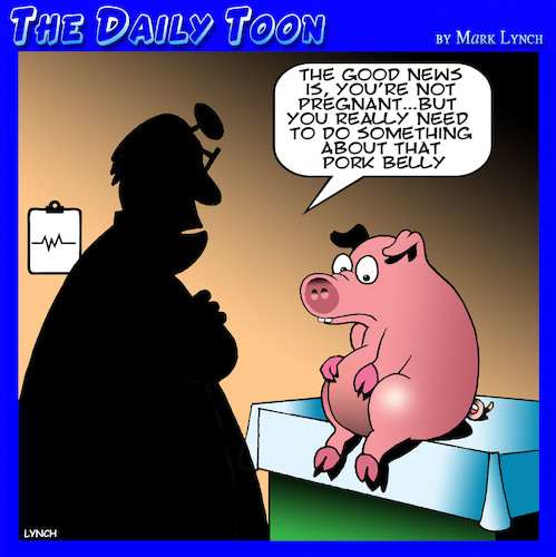 Cartoon: Pork belly (medium) by toons tagged pregnant,pigs,pork,belly,beer,overweight,animals,pregnant,pigs,pork,belly,beer,overweight,animals