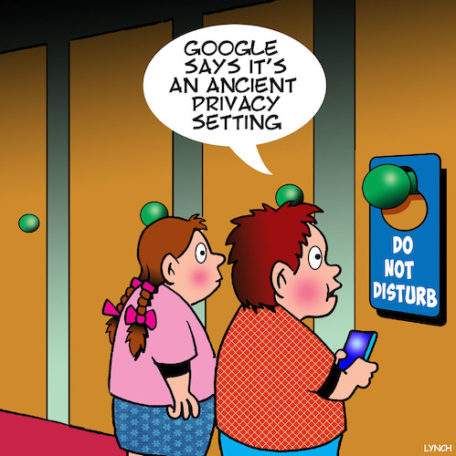 Cartoon: Privacy setting (medium) by toons tagged do,not,disturb,privacy,settings,hotel,foyer,google,search,engines,do,not,disturb,privacy,settings,hotel,foyer,google,search,engines