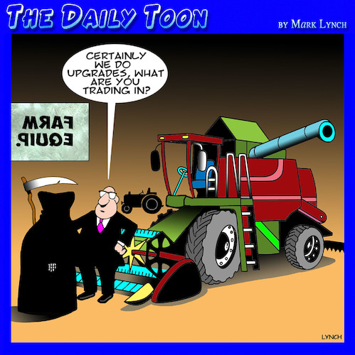 Cartoon: Reaper upgrade (medium) by toons tagged grim,reaper,farm,equipment,death,sales,upgrades,combine,harvester,grim,reaper,farm,equipment,death,sales,upgrades,combine,harvester