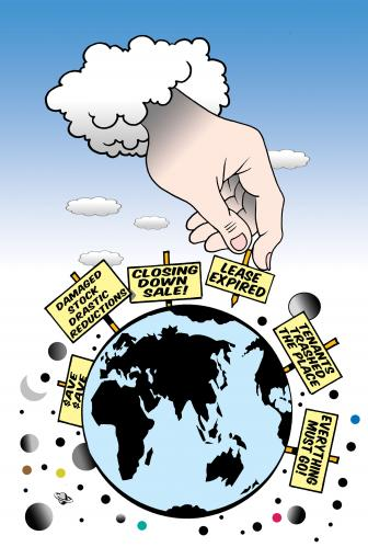 Cartoon: sale (medium) by toons tagged earth,god,real,estate,global,warming,ecology,sales