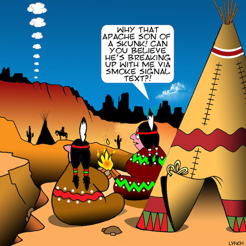 Cartoon: Smoke signals (medium) by toons tagged texting,indians,apache,american,west,smoke,signals,history,broken,romance,texting,indians,apache,american,west,smoke,signals,history,broken,romance