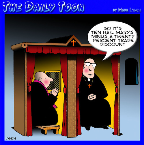 Cartoon: Trade discounts (medium) by toons tagged confessional,staff,discount,clergy,priests,sins,discounted,confessional,staff,discount,clergy,priests,sins,discounted
