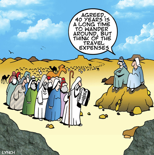 Cartoon: travel expenses (medium) by toons tagged moses,bible,ten,commandments,travel,expenses