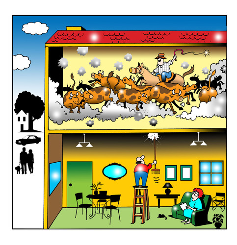 Cartoon: upstairs (medium) by toons tagged noise,cattle,neighbors,apartment,living