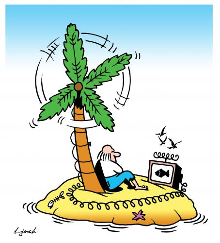Cartoon: wind farm desert island (medium) by toons tagged wind,farm,energy,electricity,pollution,ecology,environment