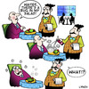 Cartoon: a bug (small) by toons tagged insecticide,salad,fly,spray,flies,mosquito,waiter,waitress,restaurant,food,service,chef,cooking,entree,main,course,poisoning