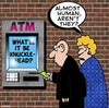 Cartoon: almost human (small) by toons tagged atm,automatic,teller,machine,banking,handicard,credit,cards,robots,money