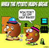 Cartoon: argue (small) by toons tagged mr,potato,head,marriage,relationships,friction,arguements,potatos,baked,cooking,fries,chips