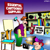Cartoon: cartoonist supplies (small) by toons tagged cartoonist,cartooning,art,supplies,wine,vino,drawing,painting