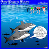 Cartoon: Feeding frenzy (small) by toons tagged sharks,feeding,frenzy,snacks,fitness,overweight,food