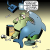 Cartoon: Flossing (small) by toons tagged dentist,flossing,dental,hygiene,sharks,fish,surgery