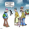 Cartoon: Hippie replacement (small) by toons tagged hippies,hip,replacement,elective,surgery,the,sixties,walking,frame,old,age,pensioners