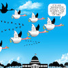 Cartoon: Migration policy (small) by toons tagged geese,donald,trump,migrationary,birds,white,house,fake,news,flying,in,formation