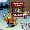 Cartoon: mouse on a stick (small) by toons tagged cats,mice,fast,food,hot,dogs,mouse,animals,take,away