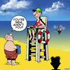 Cartoon: New here (small) by toons tagged lifeguard,lifesaver,drowning,beaches,saving,lives,holidays