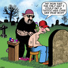 Cartoon: Over my dead body (small) by toons tagged tattoos,cemetery,tattooist,bikie