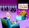 Cartoon: Ox tail soup (small) by toons tagged soup,ox,tail,restaurants,menu,food,drink,waiters,cafe,animals,cows,oxen,beast,of,burden