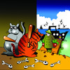 Cartoon: the ambush (small) by toons tagged fishing cats north sea animals seafood boats ambush