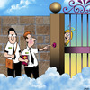 Cartoon: The Mormons are knocking (small) by toons tagged mormons,jehovahs,witness,door,knocking,we,would,like,to,talk,about,jesus