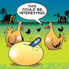 Cartoon: This could be interesting (small) by toons tagged eggs,chickens,farms,hens,tools,hatching,chainsaw,farmer,farm,animals,birth,motherhood