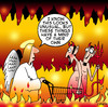 Cartoon: trolley hell (small) by toons tagged shopping,trolley,cart,angels,hell,god,devil,heaven,navigation,sales