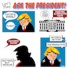 Cartoon: Trump questions (small) by toons tagged discrimination,trump,racist,pussy,grab,games