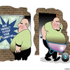 Cartoon: Tummy holder (small) by toons tagged obesity,weight,loss,girdle,stomach,guts,sales,wheelbarrow