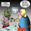 Cartoon: Zombie breakfast (small) by toons tagged zombie,eggs,cafe,breakfast,waitress