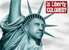 Cartoon: Is Liberty Colored? (small) by toonsucker tagged usa,wahl,election,obama,america,amerika,liberty,politics,politik,vote,peace,change,future,bush,statue,hope