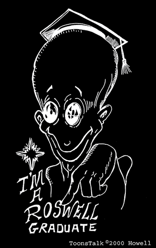 Cartoon: The Graduate (medium) by Toonstalk tagged inverted,black,white,alien,grad,roswell