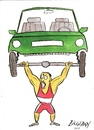 Cartoon: champion in the weight lifting (small) by bilgehananil tagged dumbbell,weight,lifting,car,sport