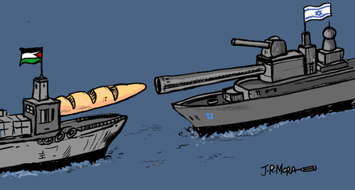 Cartoon: Israel attacks Gaza aid fleet (medium) by jrmora tagged israel,gaza,conflicto,paz,muerte,odio