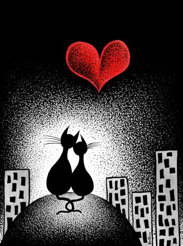 Cartoon: Carrying Your Heart With Me (medium) by BenHeine tagged carry,your,heart,with,me,ee,cummings,love,coeur,milosc,kocham,kochana,cat,lot,chat,dog,animal,back,faithful,fidele,moon,lune,de,miel,amour,celebration,darling,fate,sweety,sky,building,pointillism,stars,marta,illustration,judithpordontripodcom