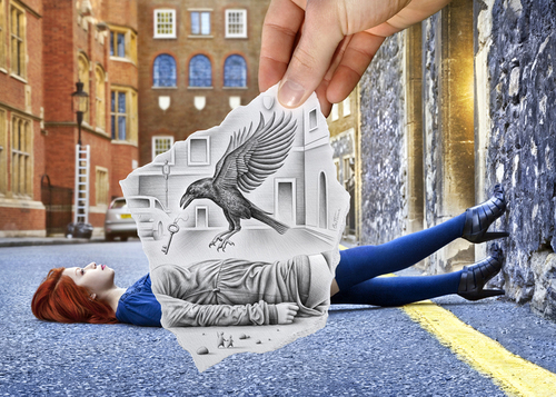 Cartoon: Pencil Vs Camera - 57 (medium) by BenHeine tagged pencil,vs,camera,art,ben,heine,drawing,photography,imagination,reality,surrealism,pencilvscamera,benheine,augmented,sketch,model,crow,bird,london,key,troubles,illusion
