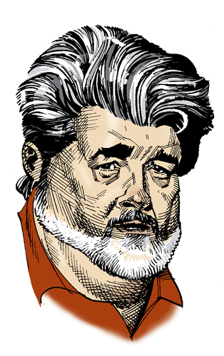 Cartoon: George Lucas (medium) by Eoin tagged caricatures,celebrities,hollywood,directors