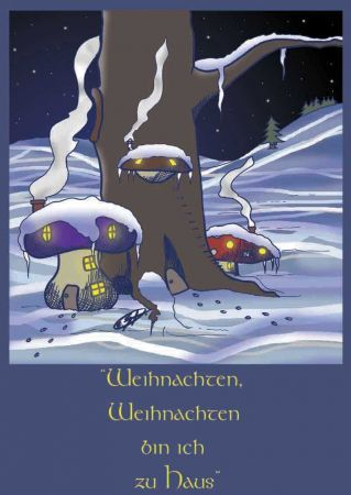 Cartoon: Frohe Weihnachten in Pilzhütten (medium) by Clemens tagged frohe,weihnachten