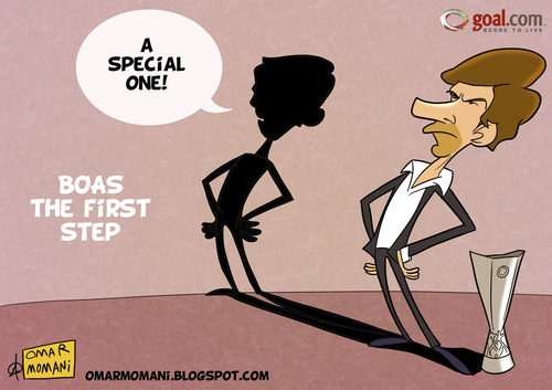 Cartoon: Boas the first step (medium) by omomani tagged league,europa,cartoon,mourinho,boas,porto,real,madrid,portugal